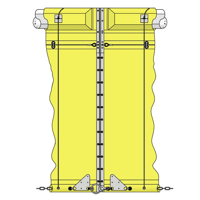 Ruffwater Screen turbidity curtain with reefing system